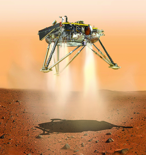 NY813 BC-US-SCI--Mars-Final Minutes-IMG-jpg BC-US-SCI--Mars-Final Minutes-IMG-jpg  This illustration made available by NASA in October 2016 shows an illustration of NASAs InSight lander about to land on the surface of Mars. NASAs InSight spacecraft will enter the Martian atmosphere at supersonic speed, then hit the brakes to get to a soft, safe landing on the alien red plains. After micromanaging every step of the way, flight controllers will be powerless over what happens at the end of the road, nearly 100 million miles away. (NASA/JPL-Caltech via AP